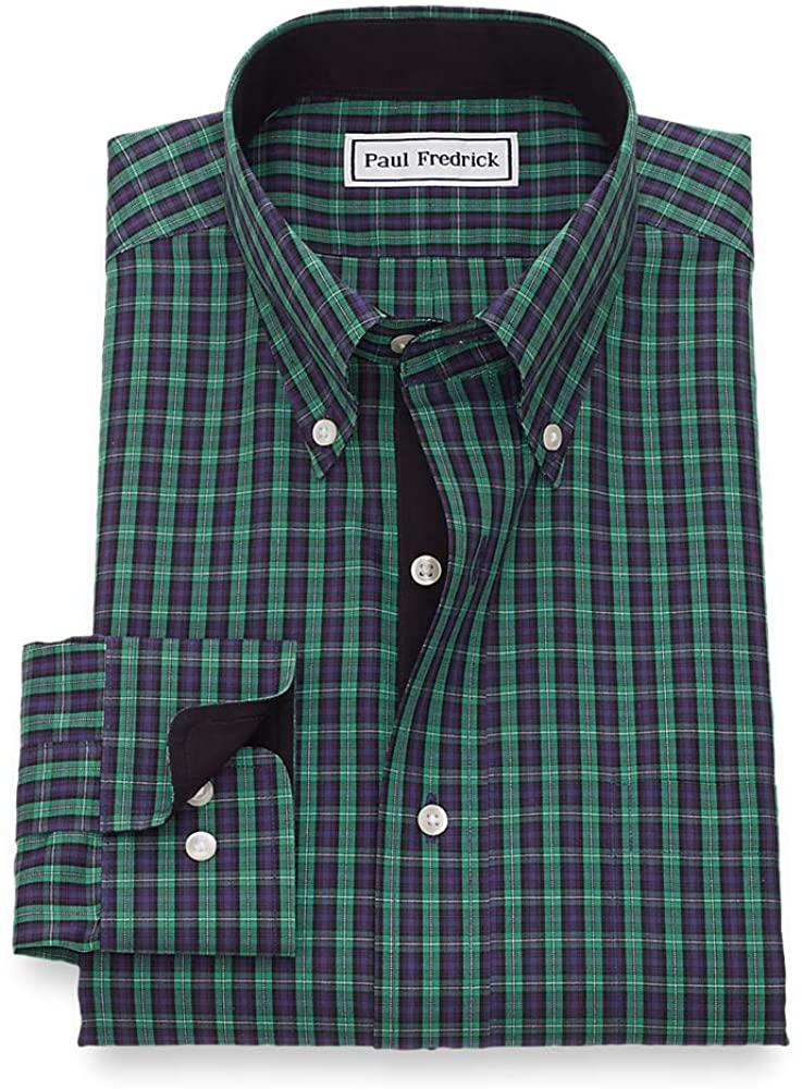 Paul Fredrick Men's Slim Fit Non-Iron Cotton Pinpoint Tartan Dress Shirt