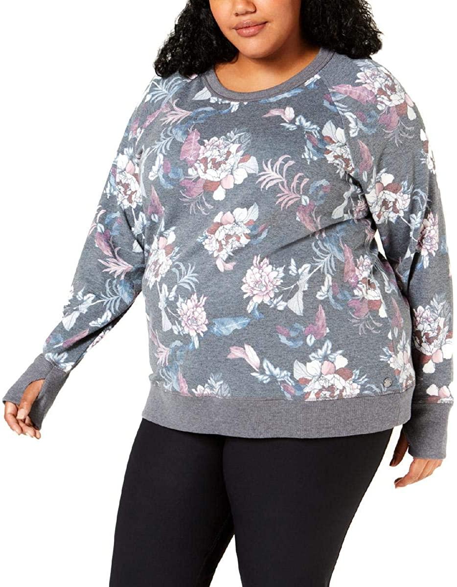 Ideology Plus Size Floral Print Criss-Cross Back Lightweight Sweatshirt