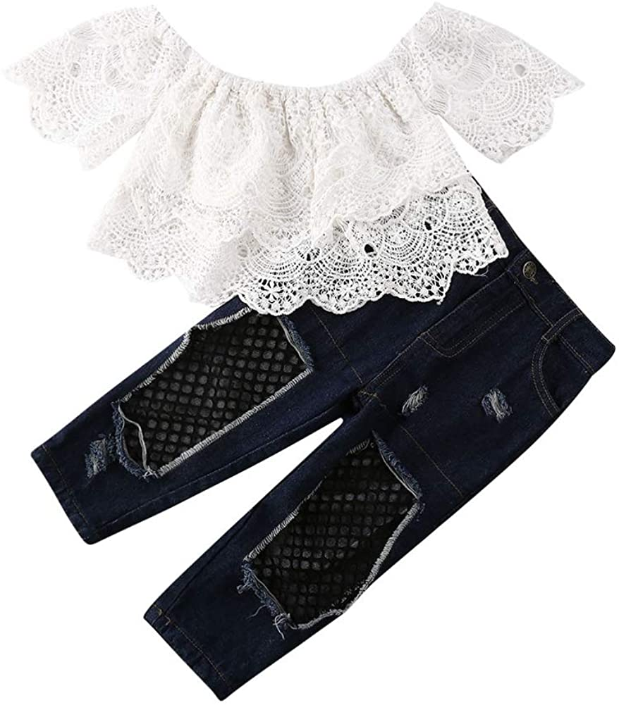 Toddler Baby Girl Outfit Shoulder Off Lace Crop Top Ripped Hole Denim Jeans Pants 2Pcs Clothes Set