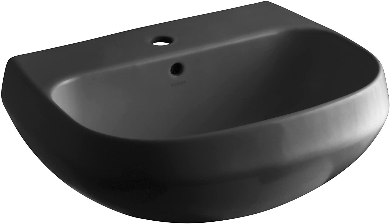 KOHLER K-2296-1-7 Wellworth Bathroom Sink Basin with Single-Hole Faucet Drilling, Black Black