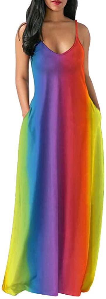 FRana Womens Spaghetti Strap Sleeveless Cami Maxi Dresses Boho Rainbow Summer Casual Beach Long Dress with Pockets