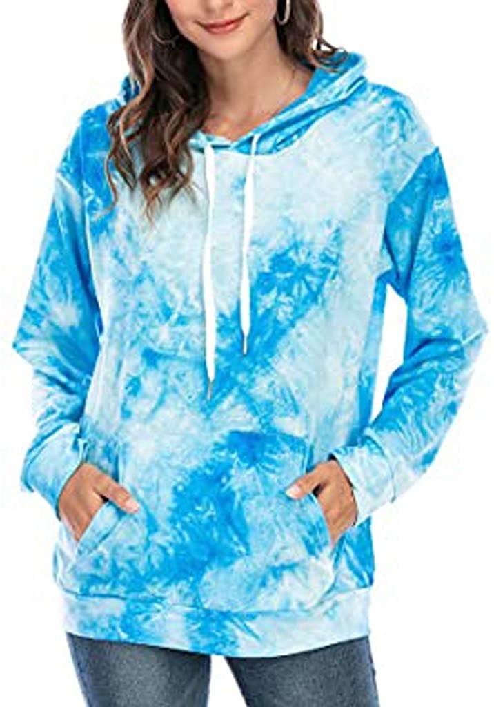 Soluo Athletic sweatshirtsWomen Plus Size Tie Dye Printed Gradient Pullover Long Sleeve Sweatshirt Tops