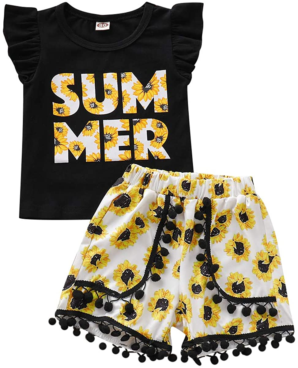 Toddler Baby Girl Summer Yellow Print Sunflower Short Sets Flying Sleeves T-Shirt Lovely Floral Pants