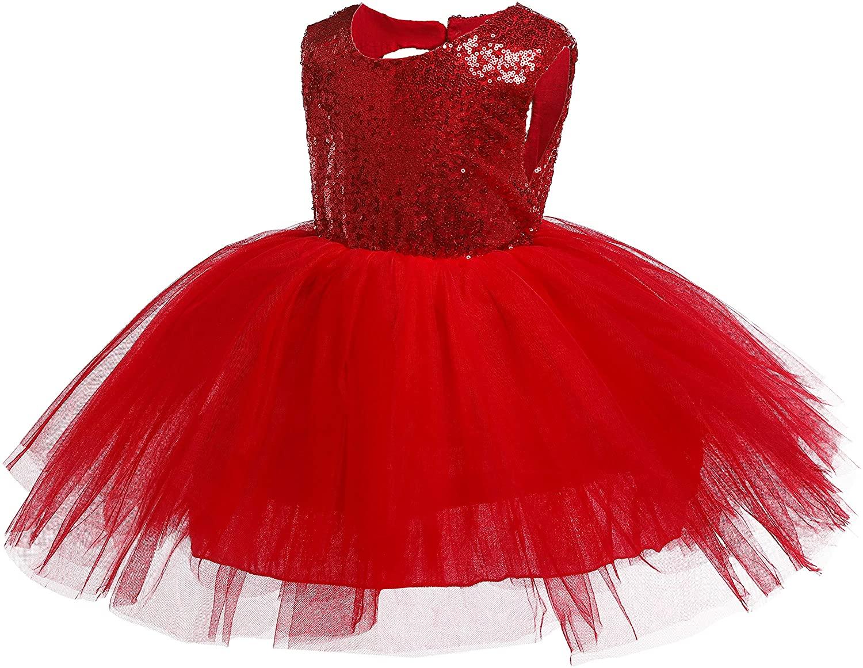 Kokowaii Fancy Toddler Baby Girls Sequin Tutu Dress Girls Pageant Party Dress Flower Girls Dress