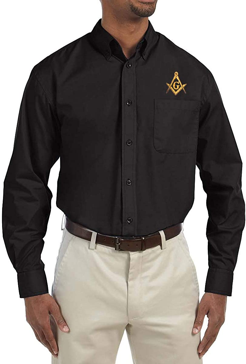 Gold Square & Compass Embroidered Masonic Men's Poplin Button Down Dress Shirt