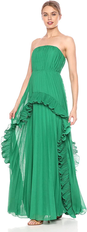 HALSTON Women's Strapless Pleated Dress