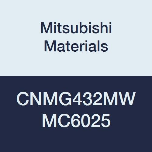 Mitsubishi Materials CNMG432MW MC6025 CVD Coated Carbide CN Type Negative Turning Insert with Hole, Rhombic 80°, 0.5