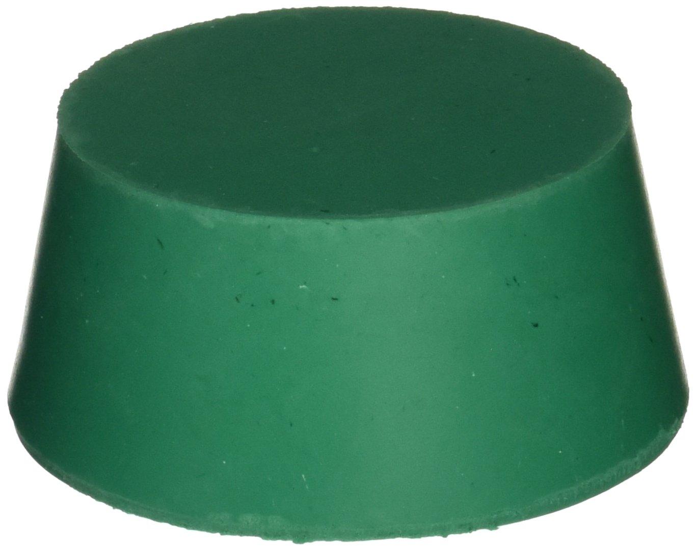 Plasticoid P135M350 Green Neoprene Solid Stopper, 75 mm Top Diameter, 62 mm Bottom Diameter, 13.5 Size, 25 mm Length (Pack of 13)