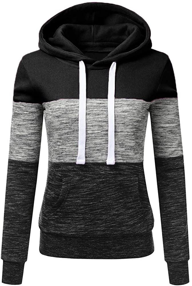 ZEFOTIM Women Hoodies, Fashion Womens Casual Hoodies Sweatshirt Patchwork Ladies Hooded Blouse Pullove