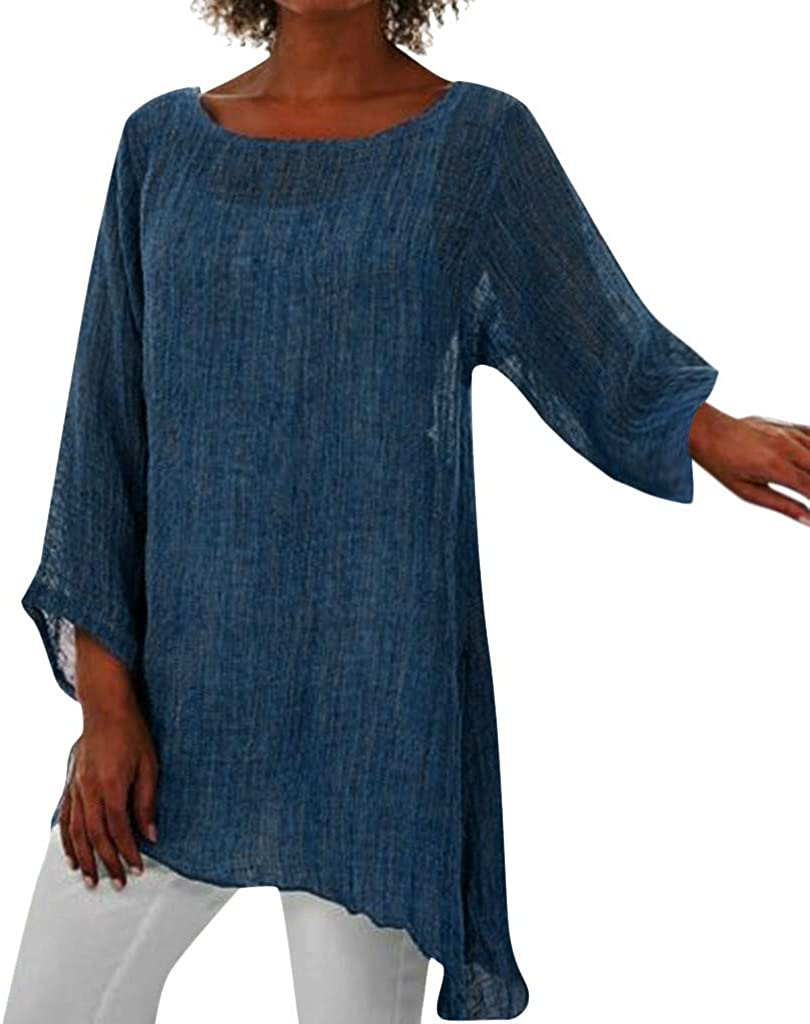 TIFENNY Cotton Linen Tops for Women Plus Size Crewneck Long Sleeve Baggy Blouse Shirt Ladies Summer Tunic Shirts