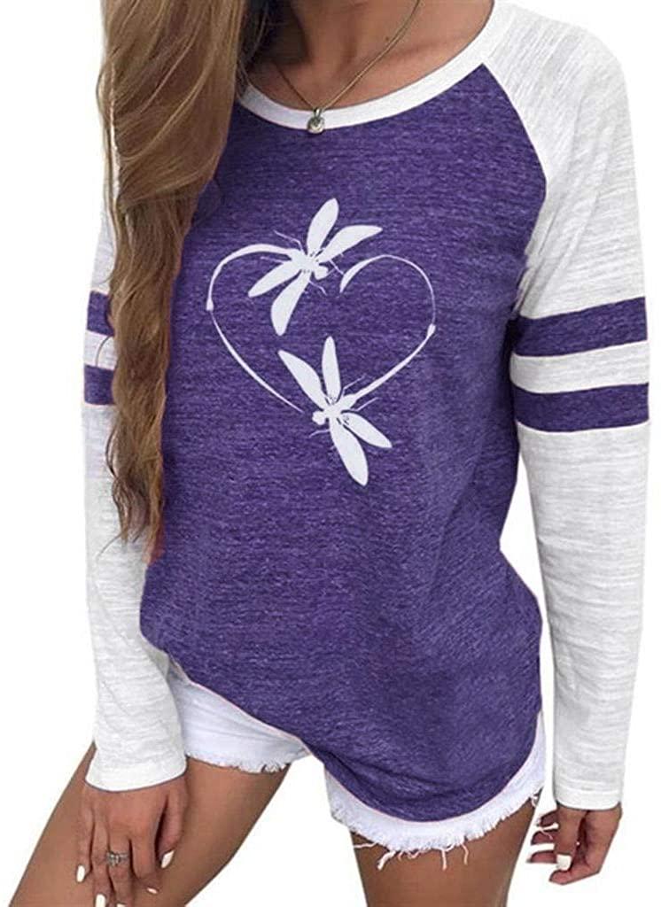 Adeliber Women's Printed Panel Neck Long Sleeve Casual Top Sweatshirt