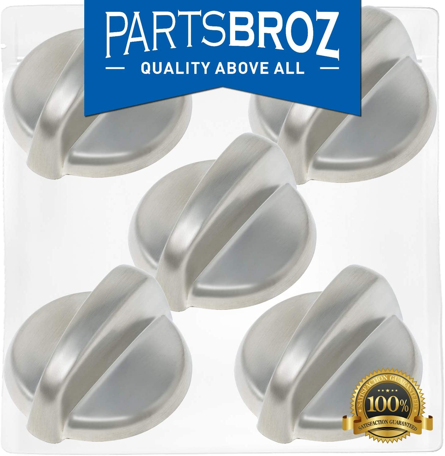 WB03T10284 Burner Control Knobs for GE Stoves, Stainless Steel Finish by PartsBroz - Replaces Part Numbers WB03T10284, AP4346312, 1373043, AH2321076, EA2321076, PS2321076 (Pack of 5)