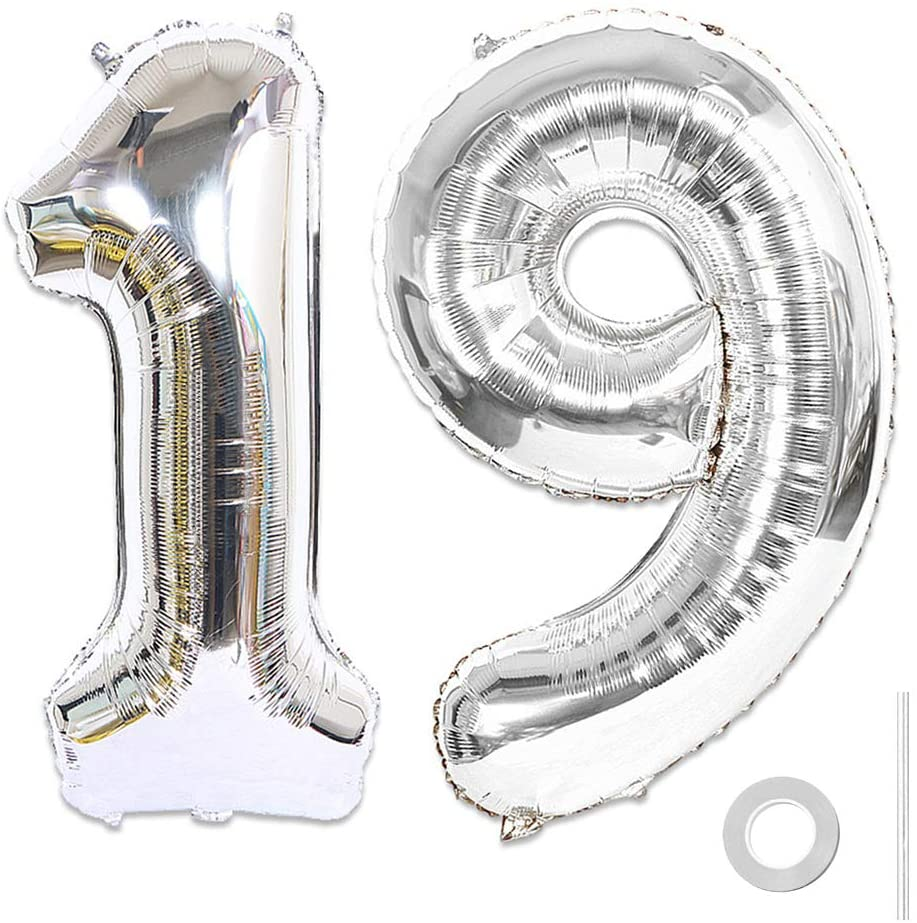 Ceqiny 40 Inches 19th Number Balloon Mylar Balloon Giant Balloon Alphabet Foil Balloon for Birthday Party Wedding Bridal Shower Engagement Photo Shoot Anniversary Decoration, Silver Digit 19 Balloon