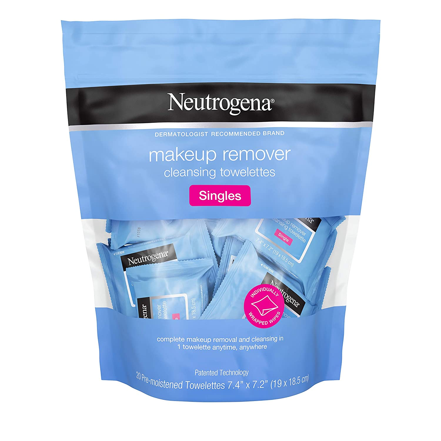 Neutrogena Makeup Remover Cleansing Towelette Singles, Daily Face Wipes to Remove Dirt, Oil, Makeup & Waterproof Mascara, Individually Wrapped, 20 ct (Pack of 3)