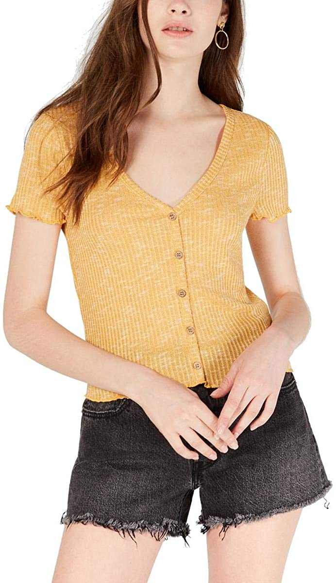 Crave Fame by Almost Famous Womens Ribbed V-Neck Crop Top