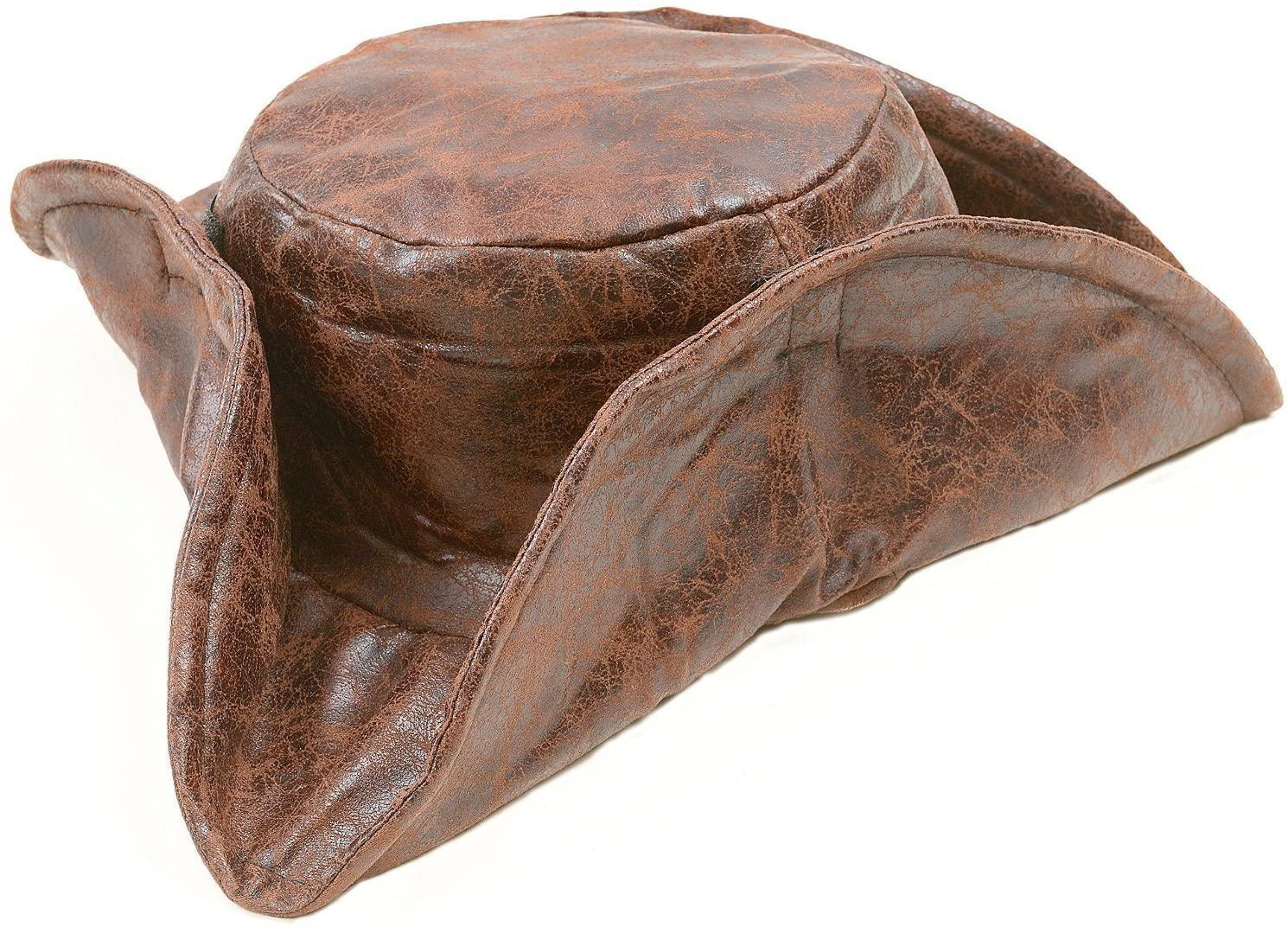 Kangaroo Brown Leatherette Tri-fold Caribbean Pirate Hat, Jack