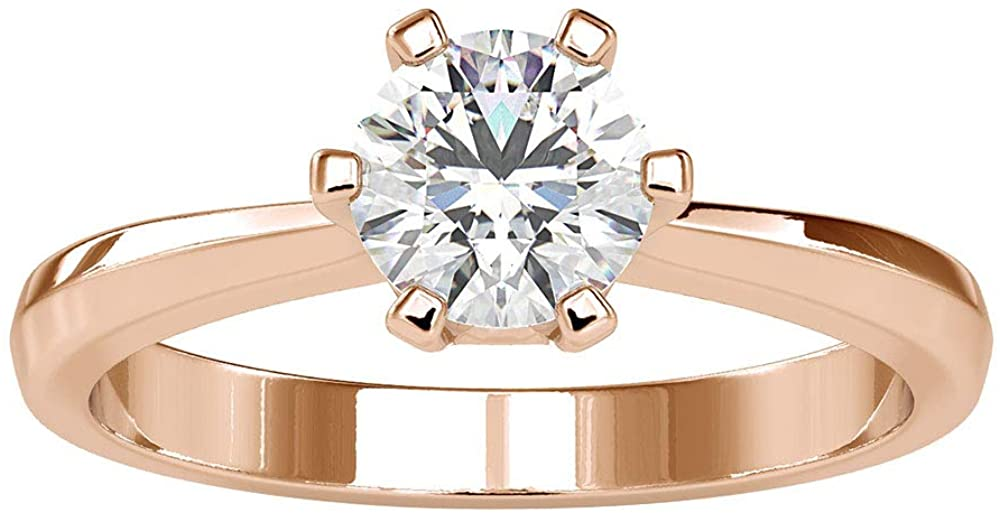 1Ct Certified Moissanite Solitaire Engagement Ring, Unique Wedding Bridal Gold Ring, DE-VS1 Color Clarity Gemstone Promise Ring, Statement Women Ring