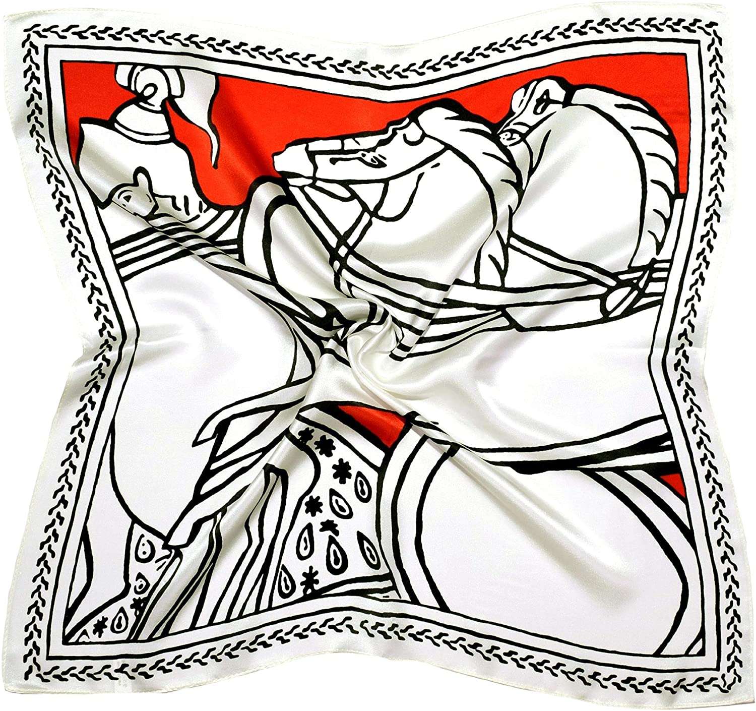 White Red Horse Printed Small Thick Silk Square Scarf