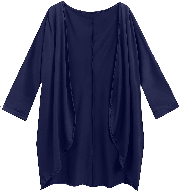 Meaneor Womens Long Sleeve Lightweight Outerwear Cardigan Irregular Asymmetrical Coat with Pockets