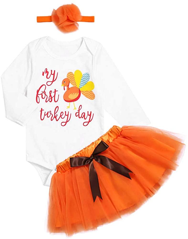 Thanksgiving Outfits SetNewborn Baby Girl My FirstThanksgiving Long Sleeve Romper+ Bow-Tied Skirt + Headband Clothes Set