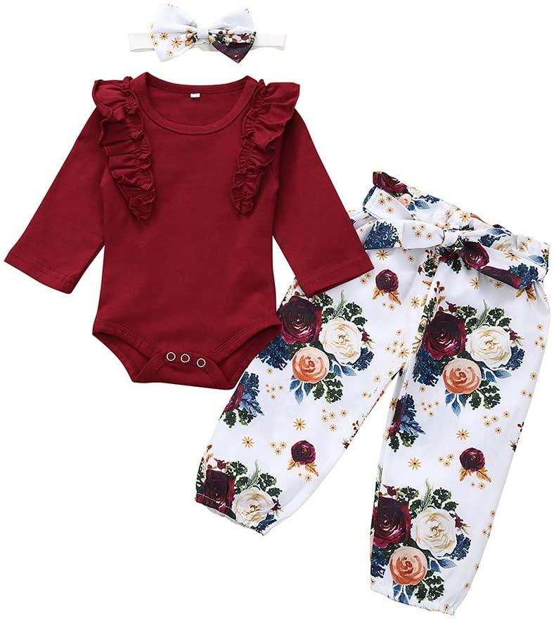 XuBa 3Pcs/Set Girl Baby Suit Long Sleeve Fungus Romper + Printing Flower Pants + Bowknot Hair Band As Shown 100cm