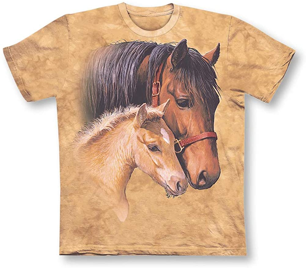 Pretty Horses Beige Short Sleeve T-Shirt with Crew Neckline - Gift Idea for Horse Lovers