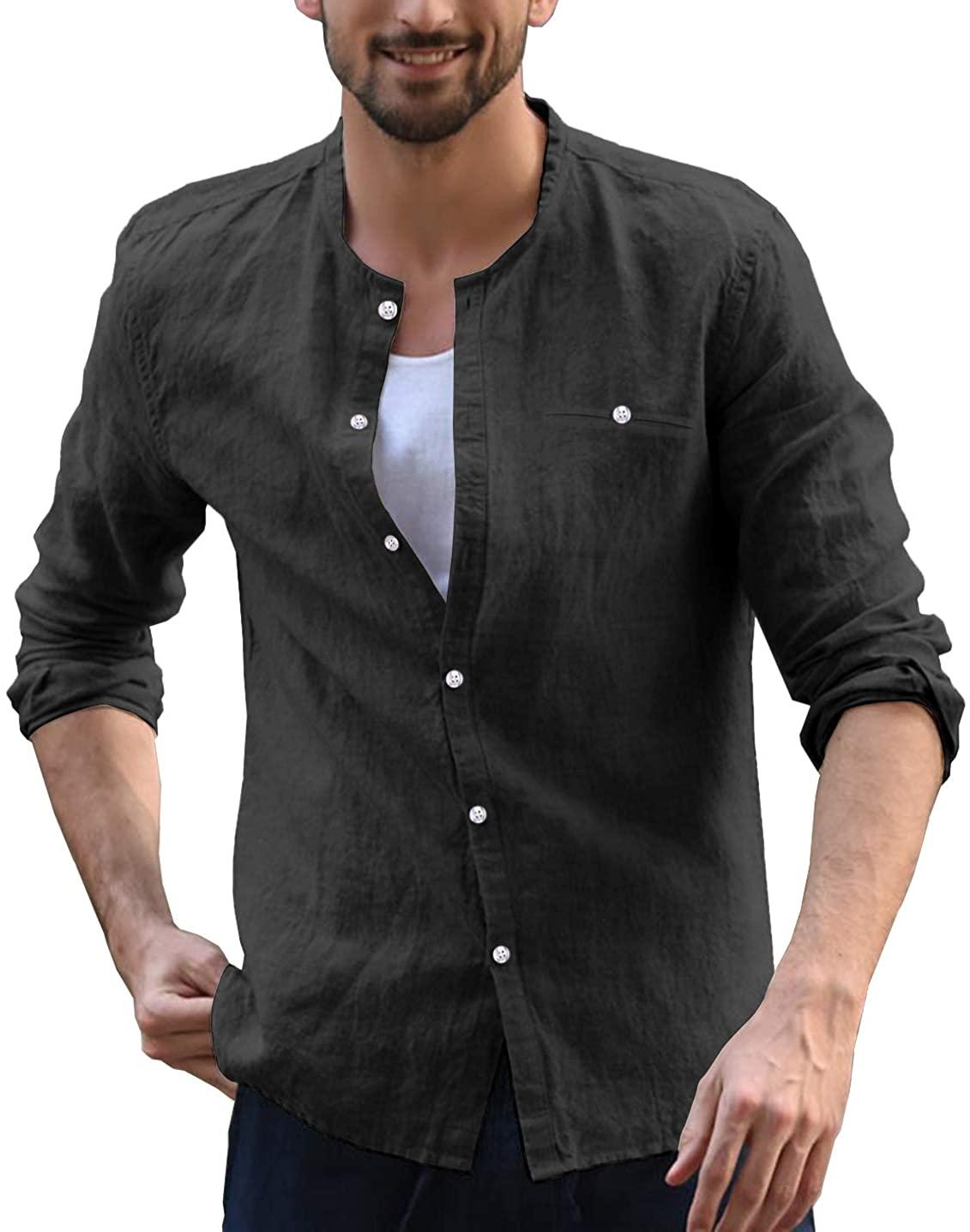 URRU Mens Long-Sleeve Cotton Linen Shirt Summer Beach Casual Shirt Loose Fit Henleys Collar Tops
