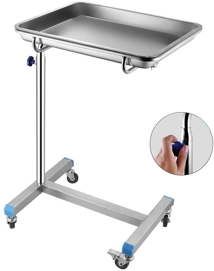 HTLLT Storage Rack Serving Cart Medical Cart Trolley Medical Rolling Trolley with Brake Wheel, Adjustable Stainless Steel Utility Cart with Surgical Tray, for Emergency Room/Hospital/Clinic,Large Tra