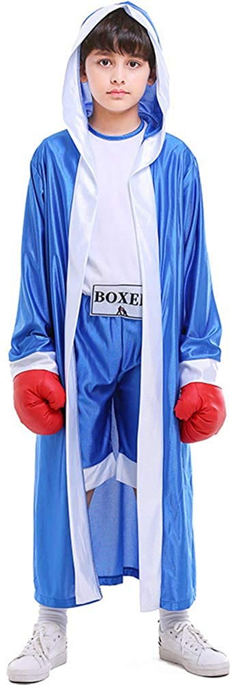 Children Boxing Costume Boxer Cosplay Halloween Party Dress Decoration Role Playing Uniform Carnival Boxing Robe for Kids (Asian M=US Small, Blue)