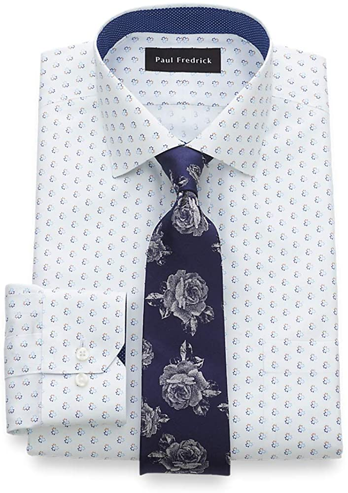 Paul Fredrick Men's Classic Fit Non-Iron Cotton Circle Print Dress Shirt