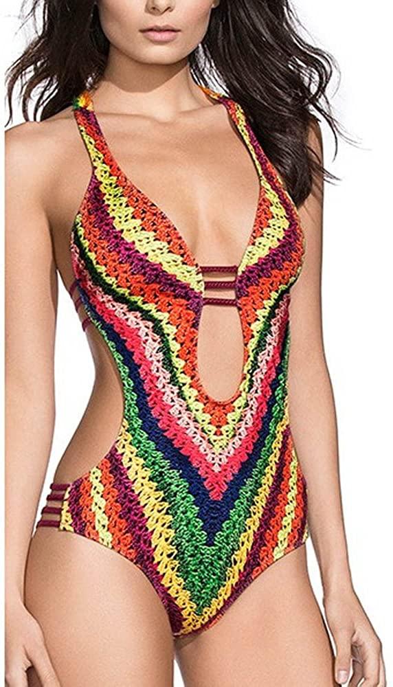 Adeliber Womens High Waist Swimwear Bandage One Piece Swimsuit Monokini Push Up Padded Bra Swimwear Swimwear
