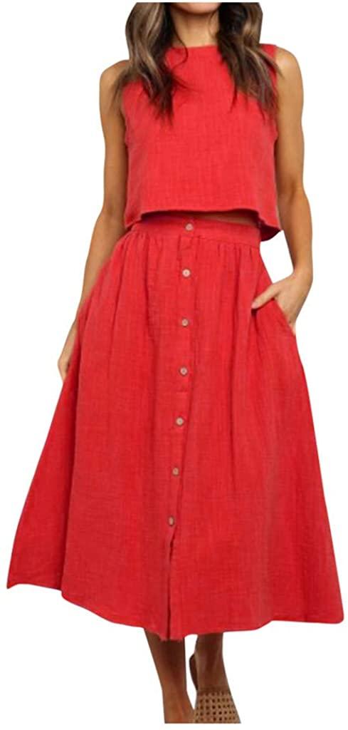 Mikilon Womens 2 Piece Outfit Dress Sleeveless Crop Top with High Waisted Button Down Maxi Skirt Set