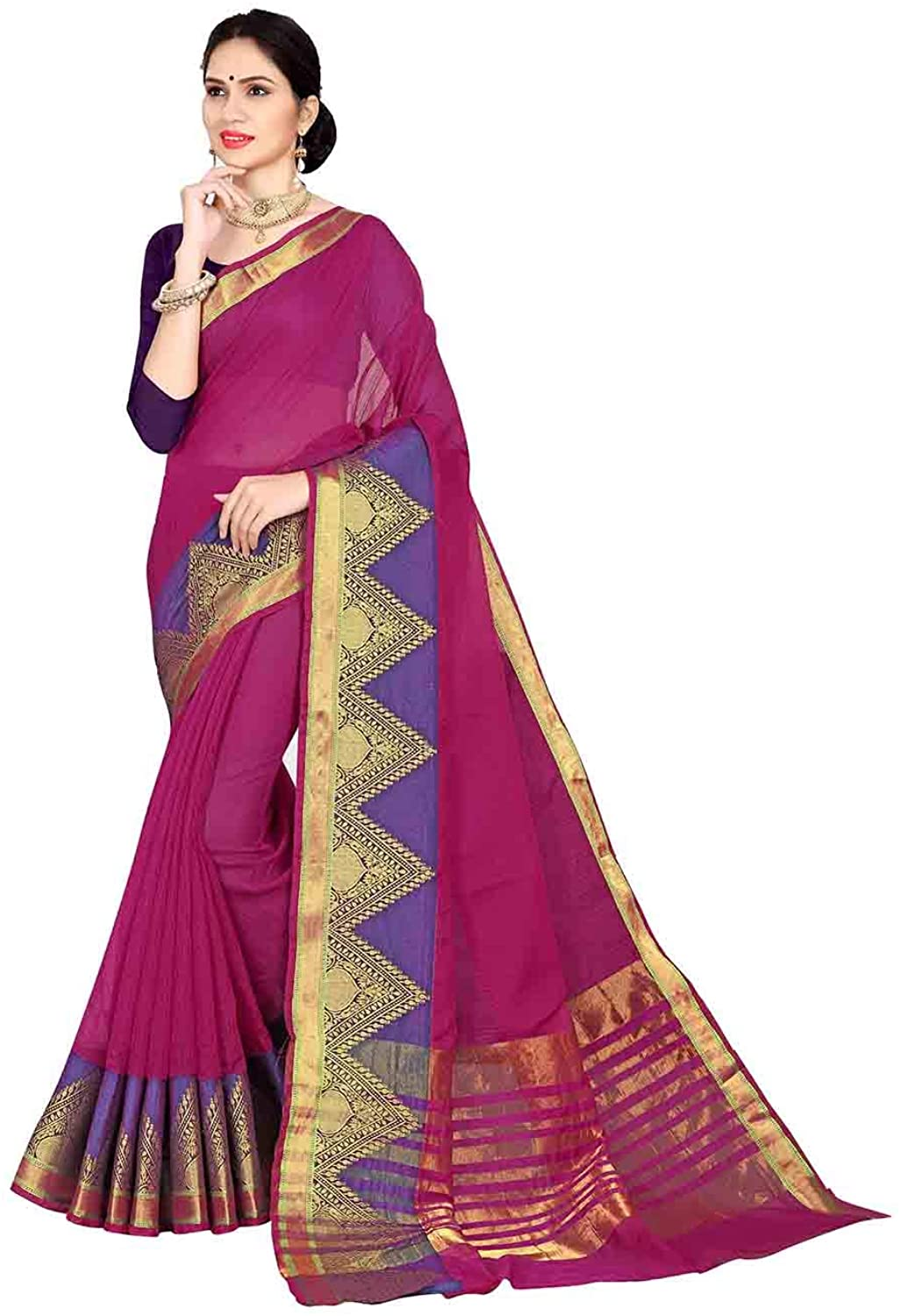 Saree for Women Bollywood Wedding Designer Pink Sari with Unstitched Blouse. ICW2572-8