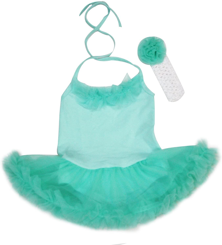 Petitebella Dress Ruffles Aqua Blue Halter Neck Bodysuit Tutu Set Nb-24m