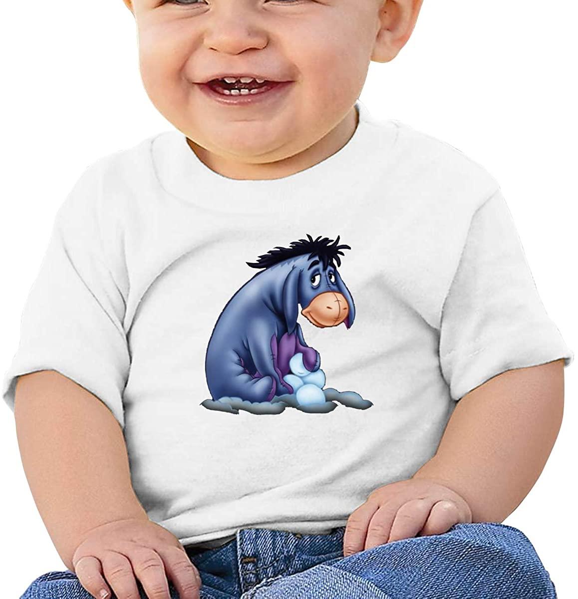 6-24 Months Boy and Girl Baby Short Sleeve T-Shirt Acmiran Eeyore Original Minimalist Style White