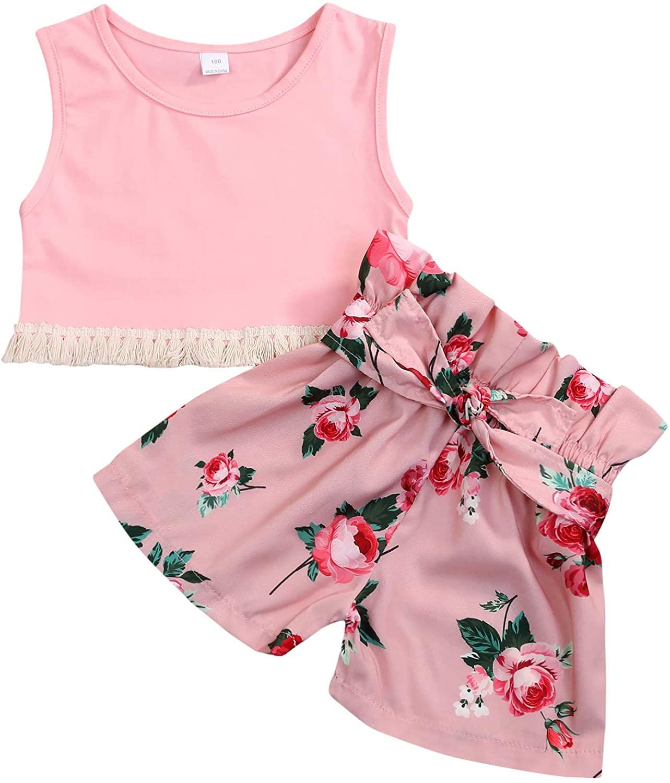 Toddler Kids Baby Girl Short Set Tassels Vest Top + Floral Shorts Clothing 2Pcs Summer Outfit