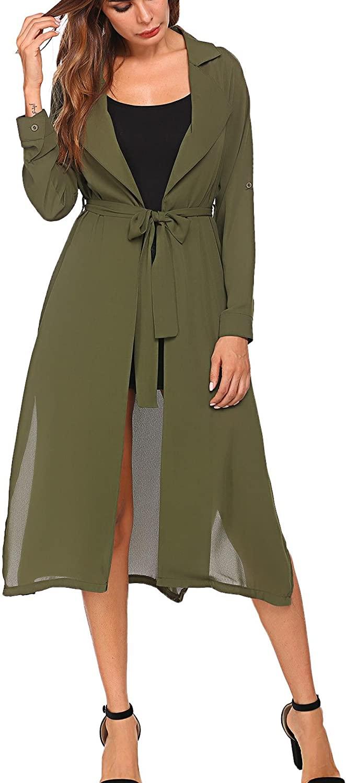 BEAUTEINE Women's Open Front Cardigan Side Split Long Sleeve Tied Cuffs Duster Coat