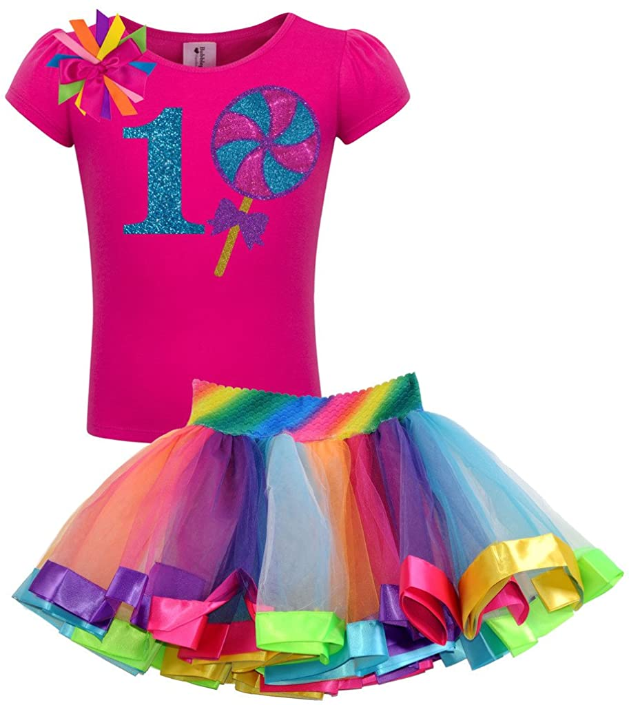 Bubblegum Divas Baby Girls' 1st Birthday Shirt Giant Lollipop Rainbow Tutu Outfit