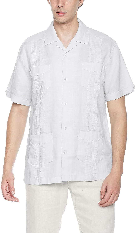 Ross&Freckle Men's Short Sleeve 100% Ramie Cuban Guayabera Shirt