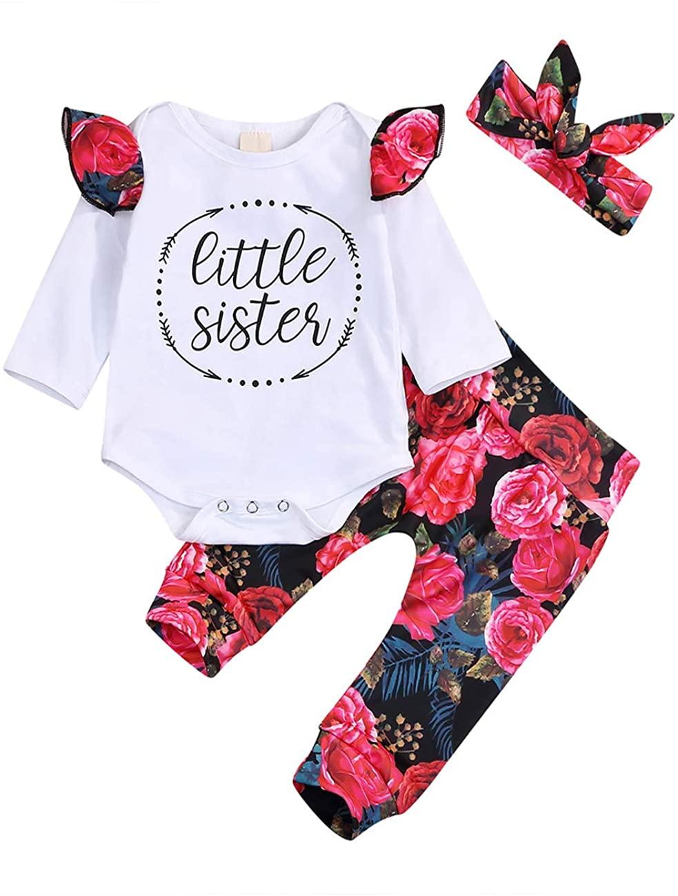 Newborn Baby Girl Outfit Little Sister Print Romper + Flower Pants + Hat + Bows Headband 3pcs Clothes Set