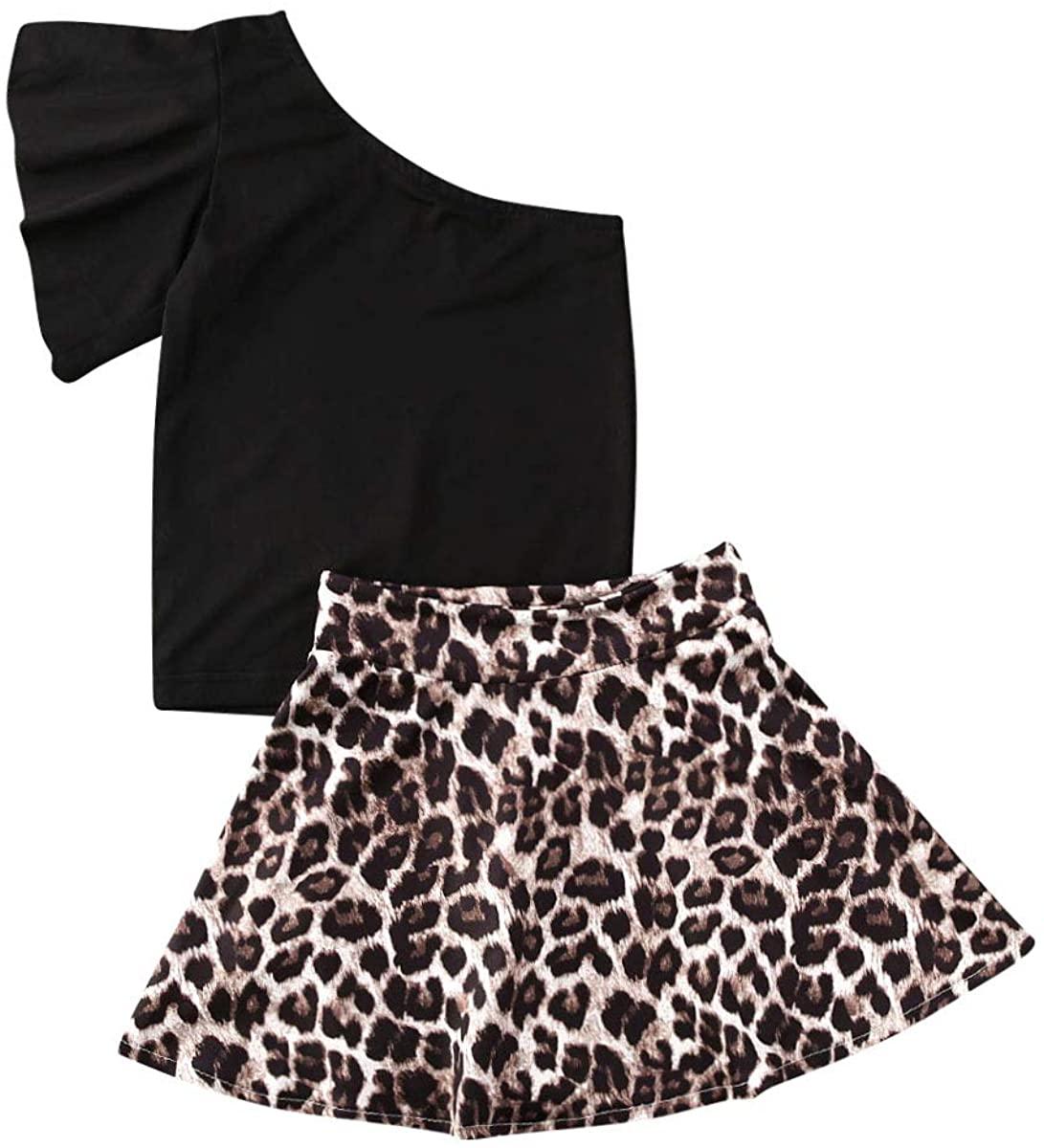 Baby Girl 2PCS Outfits Black Off Shoulder Top+Leopard Print Skirt Set Summer Party Clothes Sets