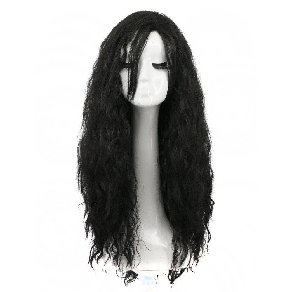 Yuehong Women Girl's Long Curly Black Movie Halloween Cosplay Wig Party Wigs