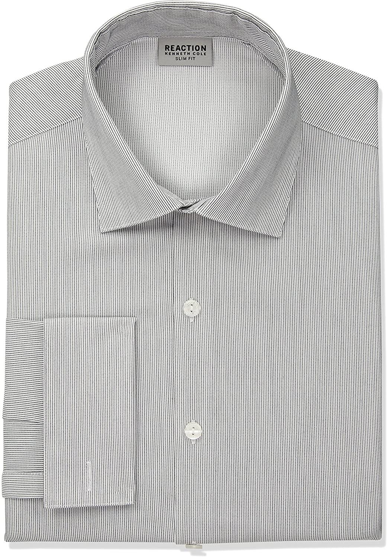 Kenneth Cole REACTION Men's Dress Shirt Slim Fit Technicole Stretch Stripe