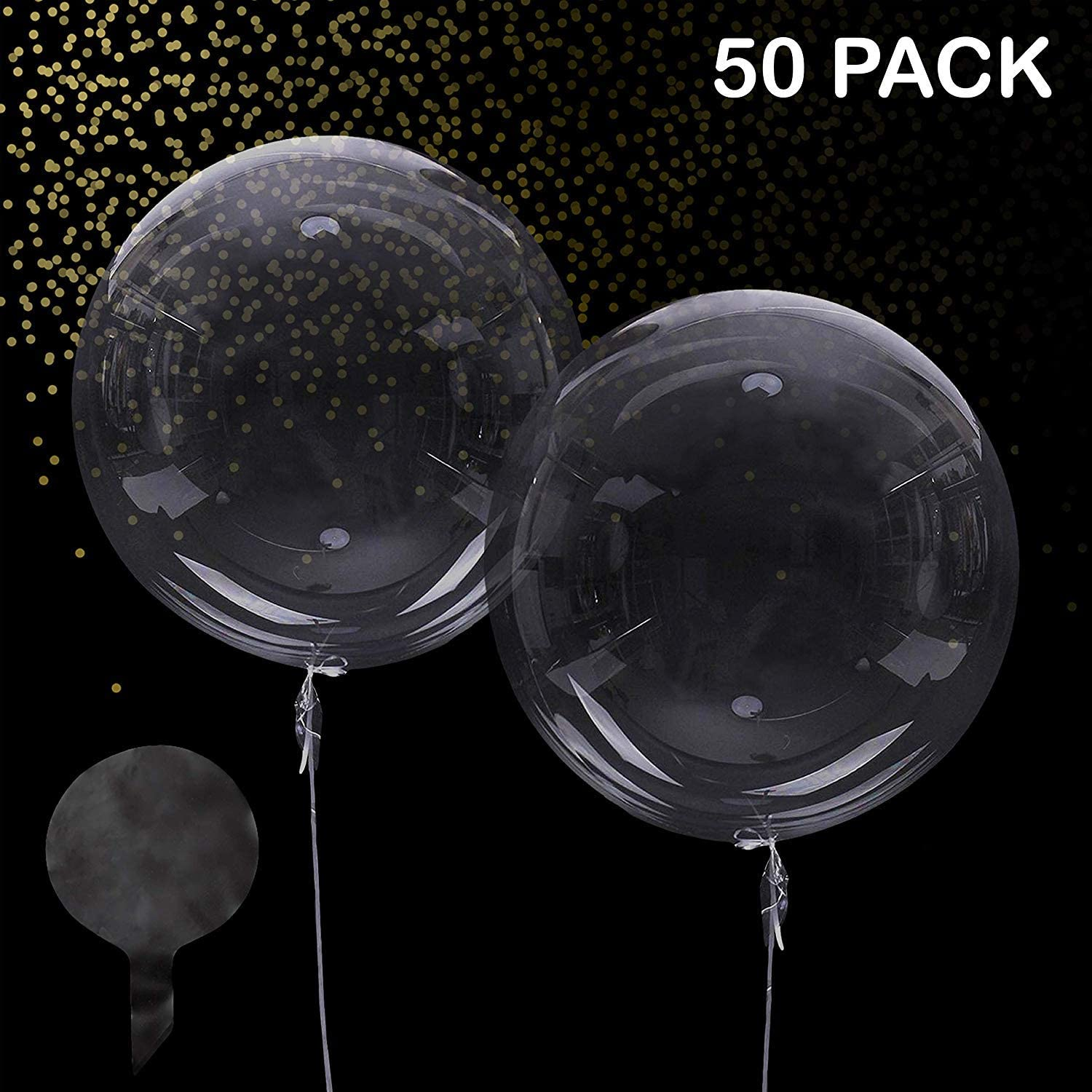 Zancybuzz 50 Pcs Clear Bobo Balloons 20 Inches Transparent Bubble Balloon for Light Up Led Balloons, House Decor, DIY, Christmas, Events, Wedding, Anniversary, Indoor and Outdoor Decoration, Family Reunion and Birthdays