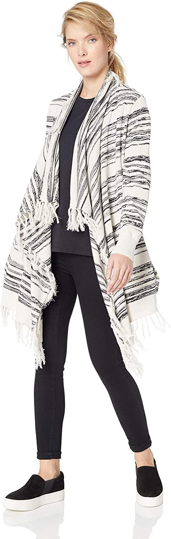 CHASER Women's Linen Sweater L/S Fringe Trim Drape Front Cardigan