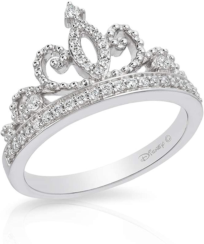 Jewelili Enchanted Disney Fine Jewelry Sterling Silver 1/5Cttw Majestic Princess Tiara Ring Size.