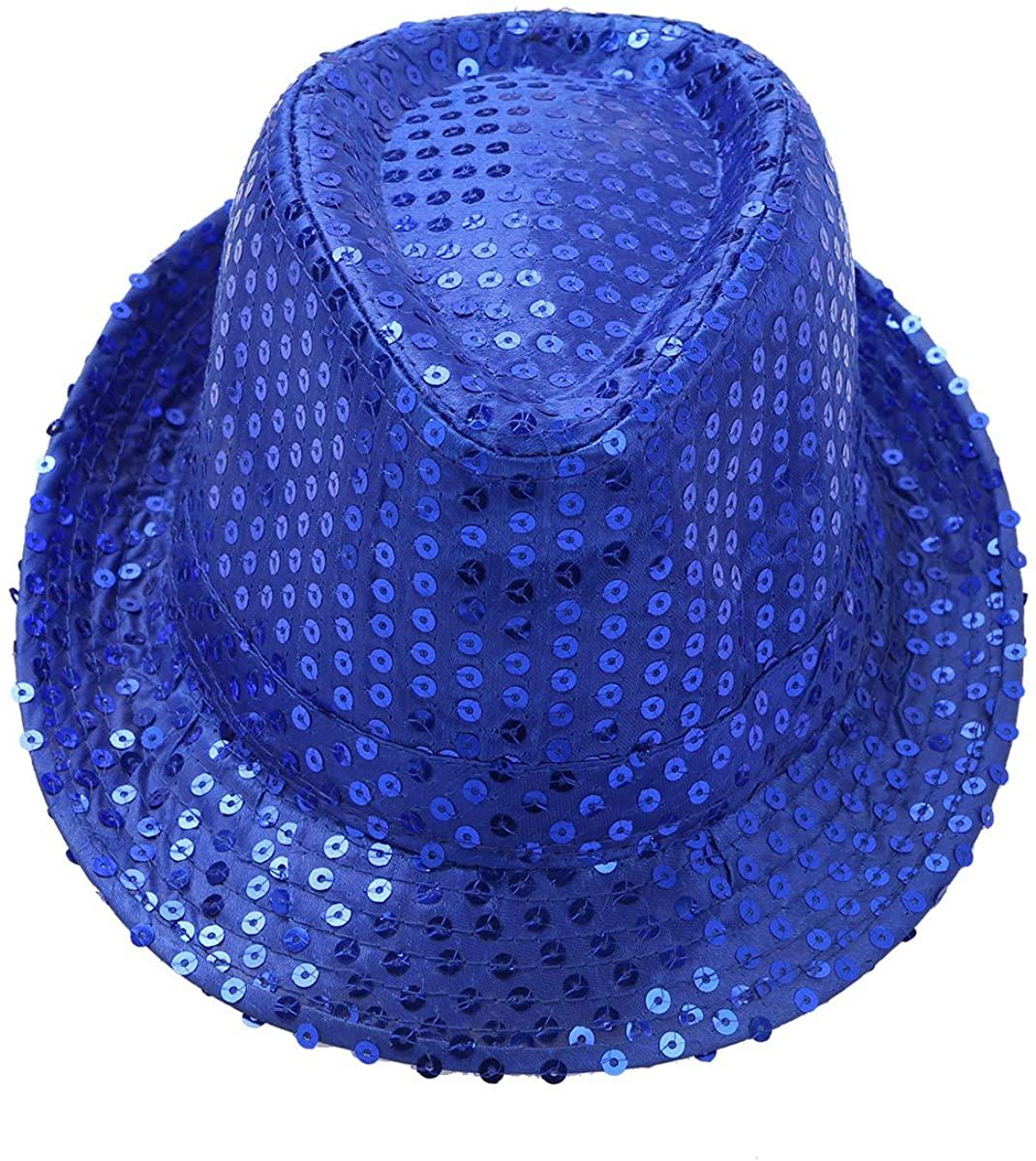 vastwit Unisex Boys Girls Shiny Sequins Fedora Party Hat Hip-Hop Jazz Dance Stage Performance Costumes