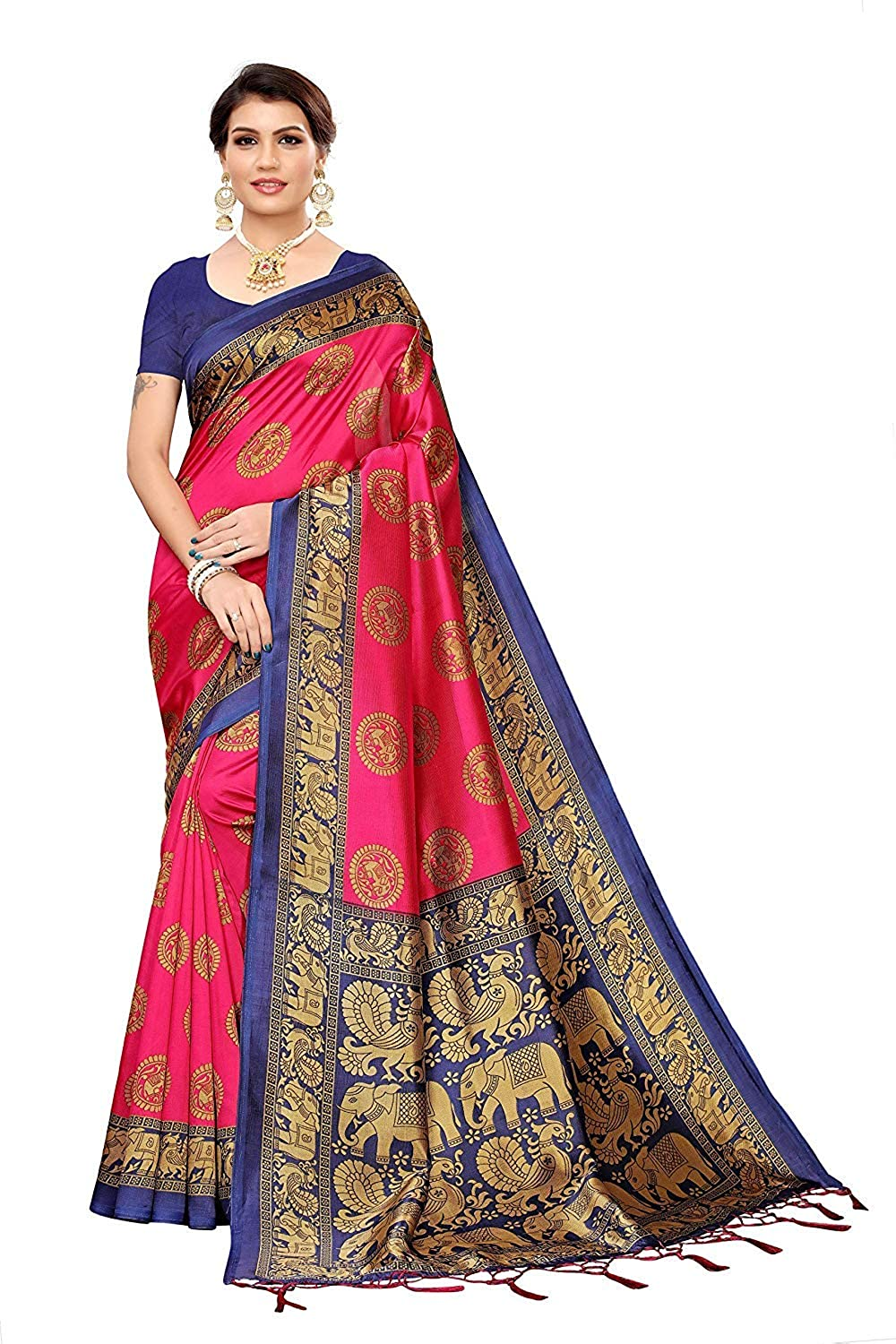 Winza Designer Women's Banarasi Art Silk Saree with Blouse Pink