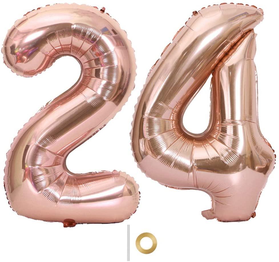 Shuxy 2pcs 40 Inch Number Balloon Foil Balloon Number 24 Jumbo Giant Balloon Prom Balloon Mylar Huge Number Balloon for Birthday Party Decoration Wedding Anniversary, XXXL Rose Gold 24 Number Balloon