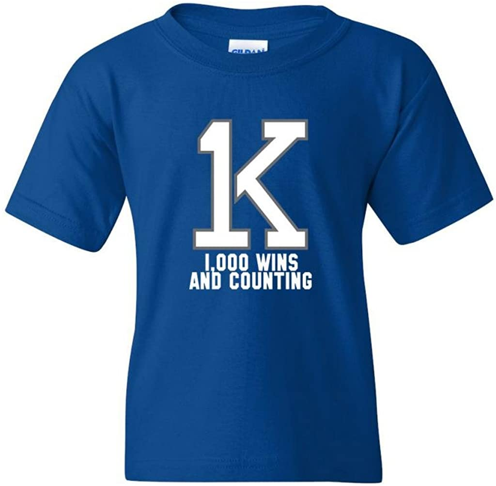 1K Coach K Bold Wins and Counting Basketball DT Youth Kids T-Shirt Tee